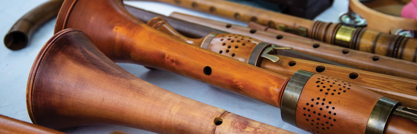 Assortment of wooden musical instruments