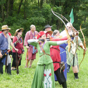 East Kingdom Archers lined up to shoot